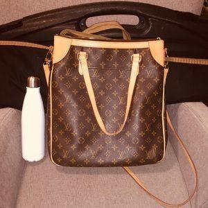Brown Leather Monogram Trendy Crossbody Travel Bag